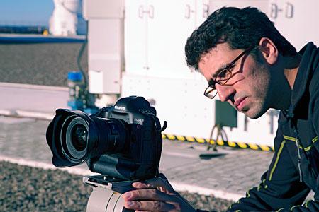 Close-up of Babak testing a UHD Camera