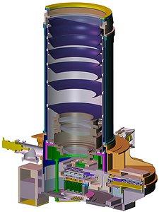A cutaway drawing of the VISTA camera