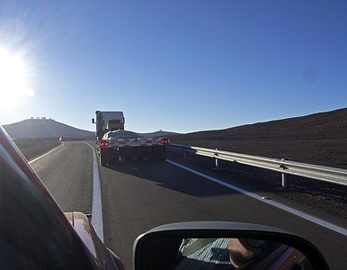 The VISTA Secondary Mirror arriving at Paranal