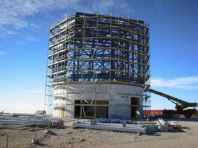 The VISTA telescope enclosure under construction