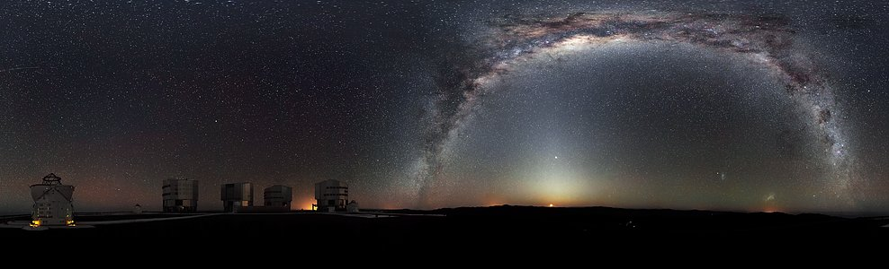 Panorâmica de 360 graus do céu austral