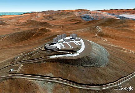 ESO's Very Large Telescope (VLT) Array Now in Google Earth