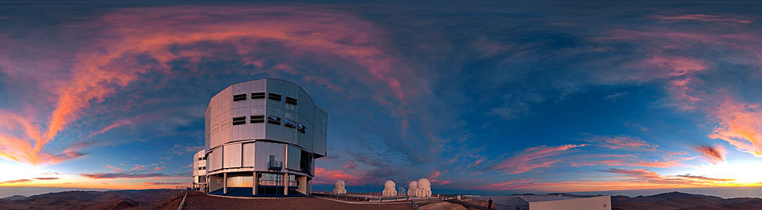360 degree panorama view of Paranal at sunset