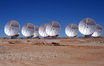 Mounted image 103: Eight ALMA antennas on Chajnantor