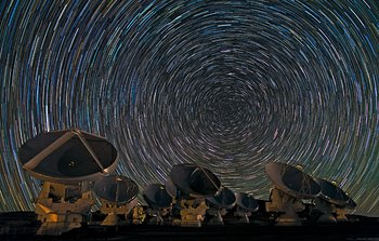 Mounted image 174: Whirling Southern Star Trails over ALMA