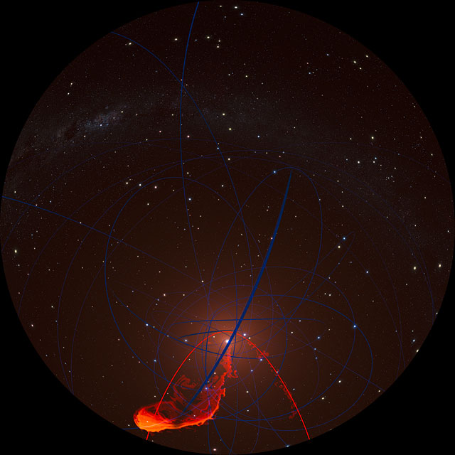 Simulation of gas cloud approaching the black hole at the centre of the Milky Way (fulldome)
