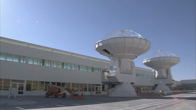 Two ALMA antennas at the OSF