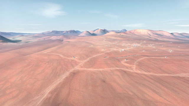 The future ALMA array on Chajnantor (artist's rendering) - 1