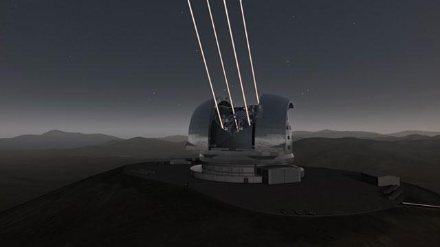 La guía láser del E-ELT comienza a funcionar (representación artística)