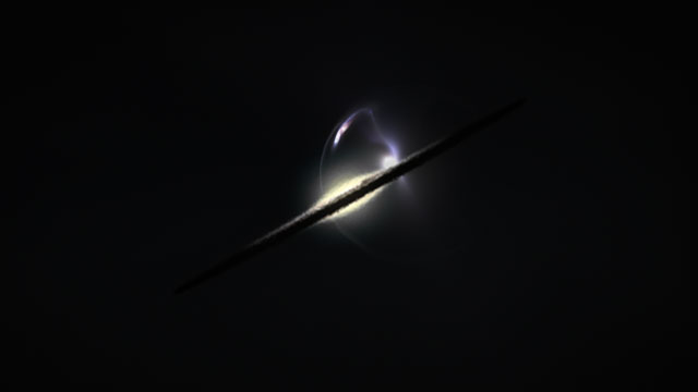 Artist's impression of gravitational lensing of a distant merger