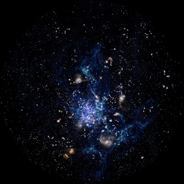 Artist's impression of a protocluster forming in the early Universe (Fulldome)