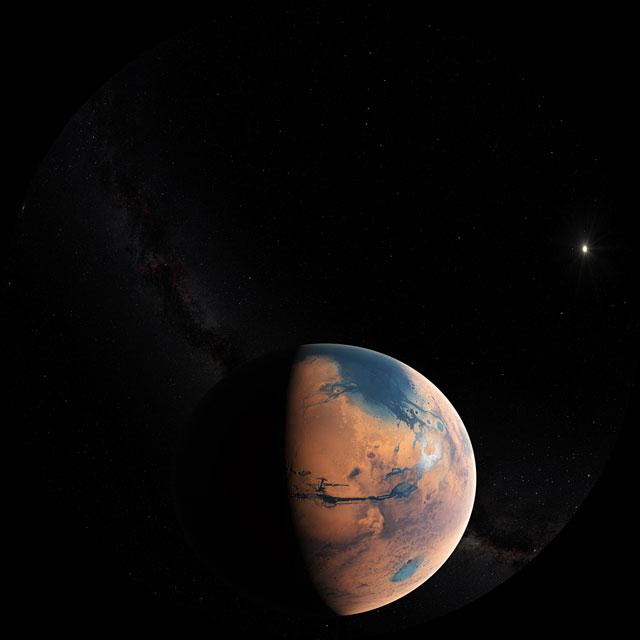 Ilustración de Marte hace cuatro mil millones de años (Fulldomo)
