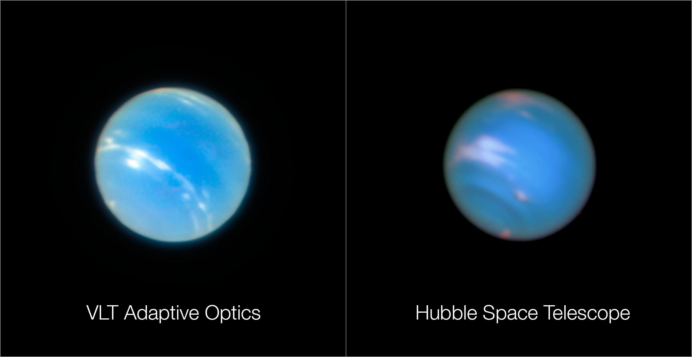 Neptun aufgenommen mit dem vlt und mit hubble eso deutschland