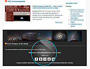 Ansicht des ESO News-Newsletters in einem Webbrowser
