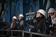 A atriz francesa Juliette Binoche num dos edifícios do VLT