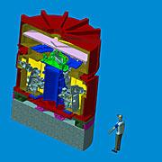 Technische Zeichnung des HARMONI-Spektrografen für das E-ELT
