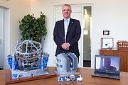 The LEGO® VLT model is presented to ESO's Director General