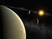 Impresión artística del sistema planetario