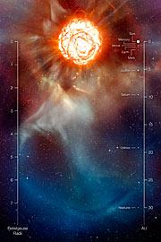 En gassky rundt Betelgeuse (kunstnerisk fremstilling, annotert)
