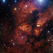 Nebula around star cluster RCW 38