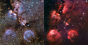An infrared/visible comparison view of the Cat's Paw Nebula