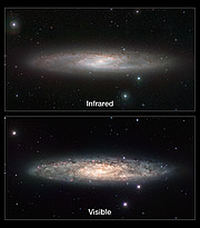 Infrared/visible light comparison of views of the Sculptor Galaxy (NGC 253)