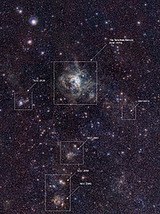 VISTA Magellanic Cloud Survey view of the Tarantula Nebula (annotated version)