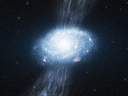Artist's impression of a young galaxy accreting material