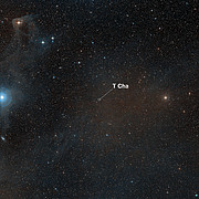 A Wide-field view of the sky around the young star T Cha (annotated)
