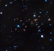 Hubble infrared image of the most remote mature cluster of galaxies yet found