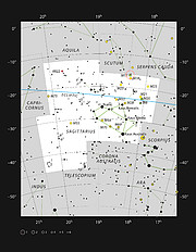 Oblast s probíhající tvorbou hvězd M 17 v souhvězdí Střelce