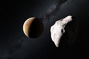 Artist's impression of the asteroid Lutetia making a close approach to a planet in the early Solar System