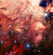 The smoky pink core of the Omega Nebula