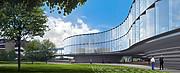 Arkkitehdin havainnekuva uudesta ESO:n päämajan laajennuksesta (valoisaan aikaan)