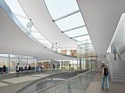Arkkitehdin havainnekuva ESO:n päämajan laajennuksesta (sisänäkymä)