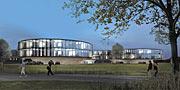 Arkkitehdin havainnekuva uudesta ESO:n päämajan laajennuksesta (iltanäkymä)