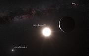 Vue d'artiste de la planète en orbite autour d'Alpha du Centaure B (annotée)