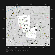Location of the young star HD 142527 in the constellation of Lupus