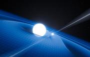 Vue d'artiste du pulsar PSR J0348+0432 et de sa compagne naine blanche