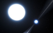 Impresión artística del púlsar PSR J0348+0432 y su compañera enana blanca