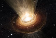 Artist's impression of the surroundings of the supermassive black hole in NGC 3783