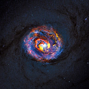 Composite view of the galaxy NGC 1433 from ALMA and Hubble