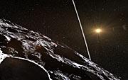 Impresión artística de los anillos que rodean al planeta menor Chariklo