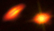 Zusammengesetzte Aufnahme von HK Tauri von Hubble und ALMA