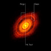 ALMA image of the young star HL Tauri (annotated)