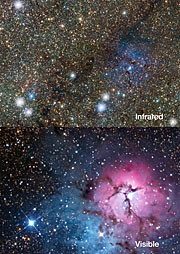 Comparison of the Trifid Nebula in visible and infrared light