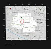 Stjärnan 51 Pegasi i stjärnbilden Pegasus