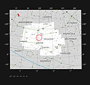 Stjernen 51 Pegasi i stjernebildet Pegasus