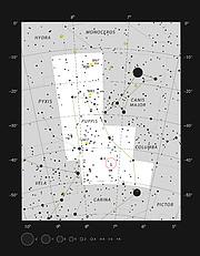 Звезда L2 Puppis в созвездии Кормы