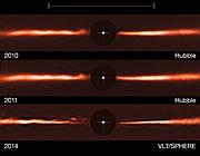 Disk kolem hvězdy AU Mic na snímcích z dalekohledů VLT a HST